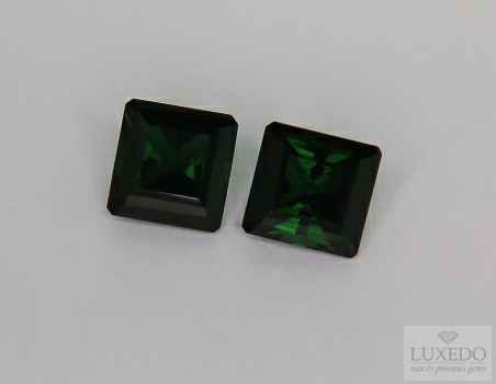 Pair of green tourmalines octagonal cut , 4.60 ct tot.