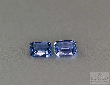 Pair of octagonal cut sapphires, 1.63 ct tot
