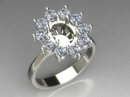 "18 kt Gold ring with diamonds halo ""Daisy"""