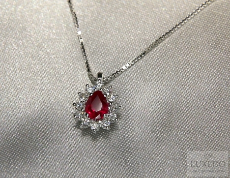 "18 kt white pendant ring with Ruby and diamonds ""Daisy"""