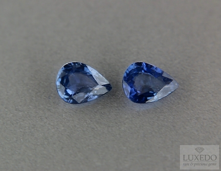 Pair of pear cut sapphires, 1.07 ct