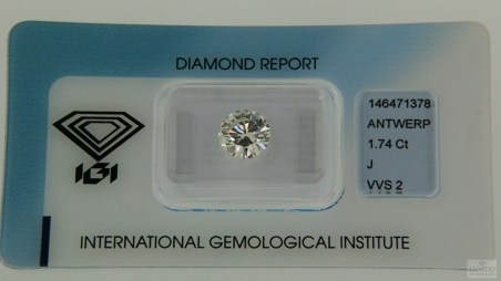 Diamond, brilliant cut J/VVS2, 1.74 ct (IGI)