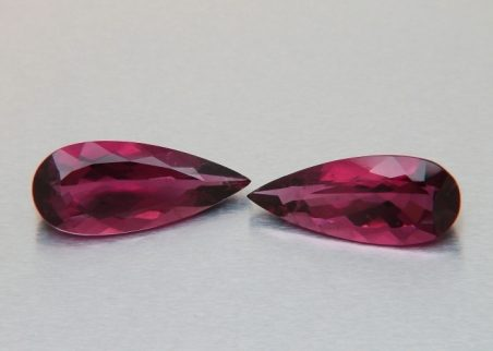 Pair of red tourmalines, teardrop cut,  6.85 ct tot.