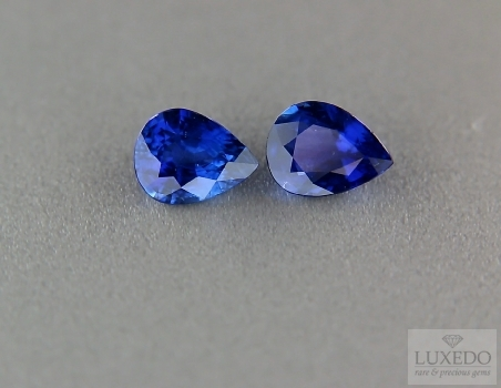 Pair of blue sapphires, teardrop cut, 2.84 ct tot.