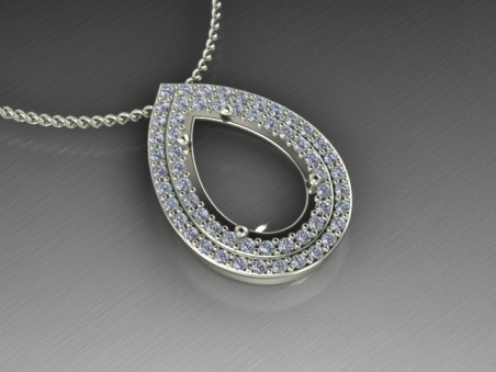 "18 kt gold pendant with a double diamonds halo ""Choisy"""