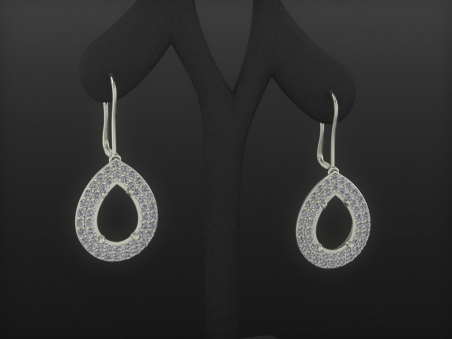 "18 kt gold earrings with double diamonds halo ""Choisy"""