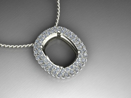"18 kt white gold pendant with diamonds pavè ""Grace"""