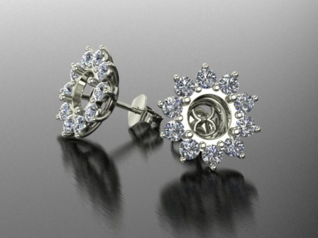 "18 kt gold earrings with diamonds ""Daisy"""
