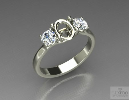 "18 kt gold ring with side diamonds ""Lumina"""