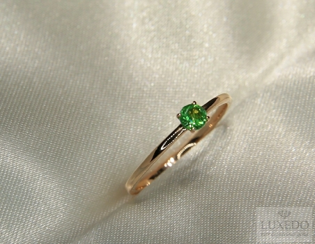 Stackable ring, 18 kt Rose gold with Tsavorite