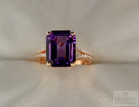 "Amethyst and diamonds ring 18 kt rose gold ""Baillache"""