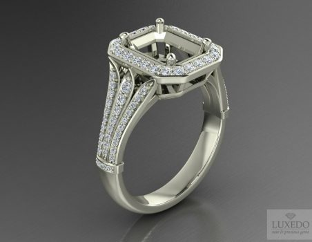 "Diamonds halo ring setting in 18 kts gold "" ""Levante"""