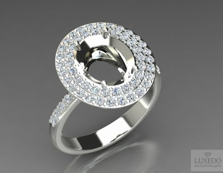 "18 kt gold ring with double diamonds halo ""Choisy"""