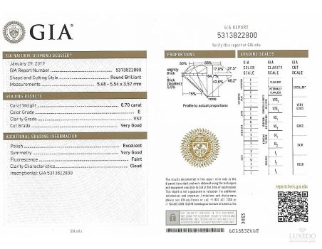 Diamante taglio brillante E/VS2, 0.70 ct (GIA)