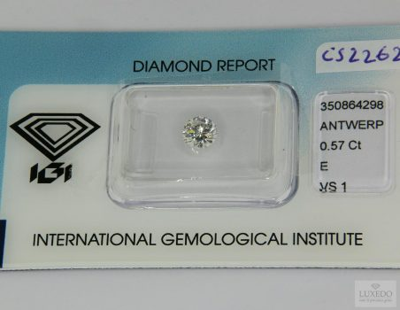 Diamante taglio brillante E/VS1, 0.57 ct (IGI)