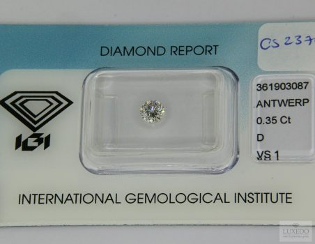 Diamante taglio brillante D/VS1, 0.35 ct (IGI)