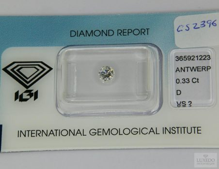 Diamante taglio brillante D/VS2, 0.33 ct (IGI)