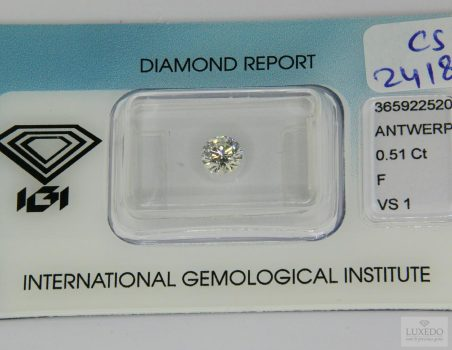 Diamante taglio brillante F/VS1, 0.51 ct (IGI)