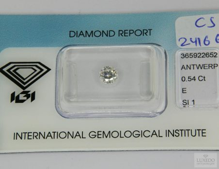 Diamond, brilliant cut E/SI1, 0.54 ct (IGI)