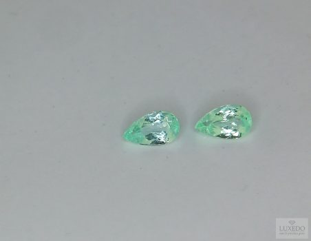 Pair of Paraiba Tourmalines, drop cut, 065 ct tot.