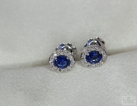 "Blue Sapphire earrings, 18 kt white gold with diamonds ""Coral"""