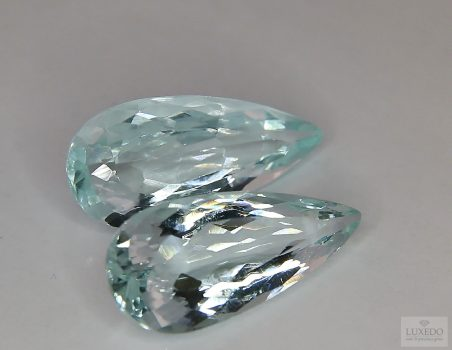 Pair of Aquamarine, drop cut, 26.17 ct tot.