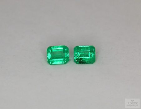 Pair of Colombian Emeralds, octagonal cut, 0.90 ct tot.