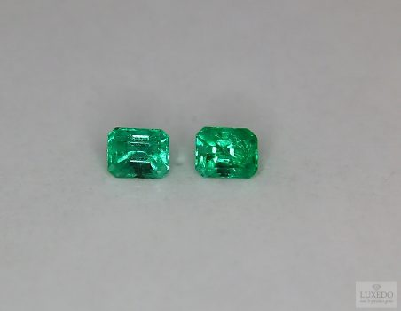 Pair of Colombian Emeralds, octagonal cut, 0.96 ct tot.