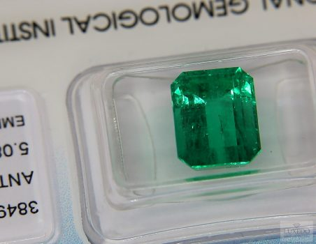 Colombian Emerald, octagonal cut, 5.08 ct (IGI)