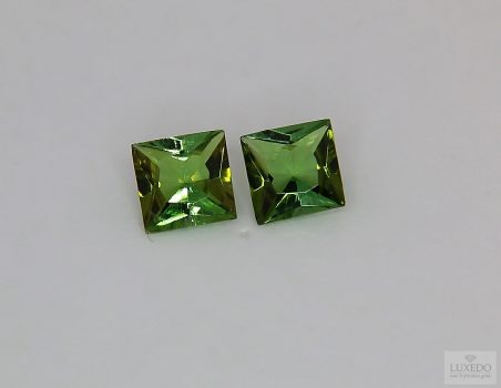Pair of green Tourmalines, square cut, 1.87 ct tot.