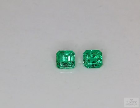 Pair of Colombian Emeralds, octagon cut, 0.74 ct tot.