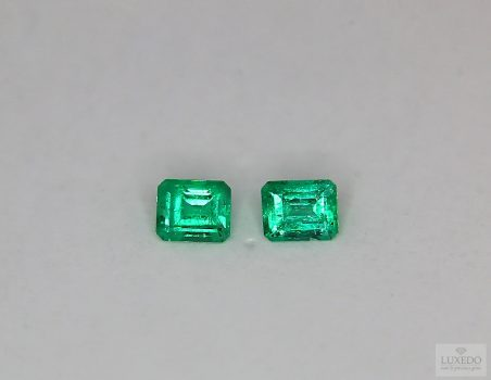 Pair of Colombian Emeralds, octagon cut, 0.77 ct tot.