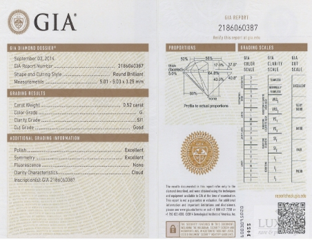 Diamante taglio brillante G/SI1 , 0.52 ct (GIA)