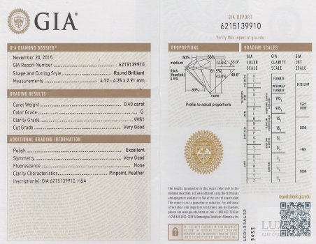 Diamante taglio brillante G/VVS1 , 0.40 ct (GIA)