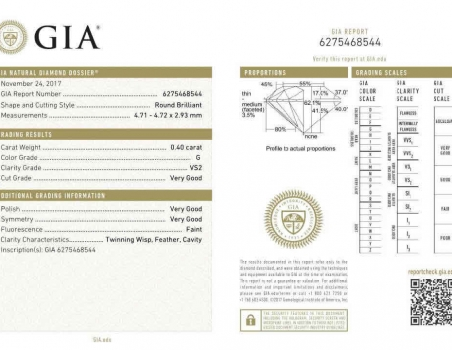 Diamond, brilliant cut G/VS2, 0.40 ct (GIA)