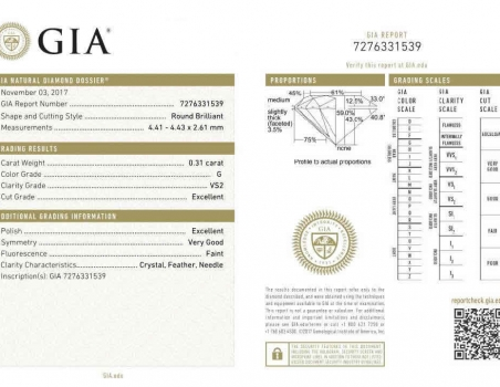 Diamond, brilliant cut G/VS2, 0.31 ct (GIA)