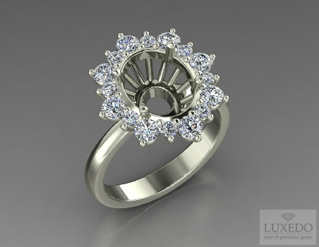 "18 kt gold ring with diamonds halo ""Merville"""