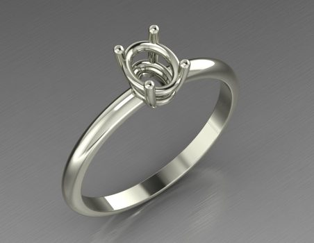 "Solitaire ring in 18 kt gold ""Plumea"""
