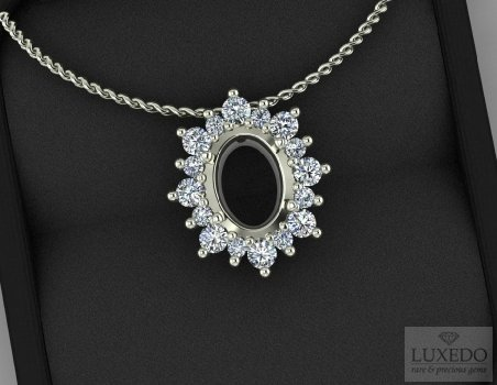 "18 kt gold pendant with diamonds halo ""Merville"""