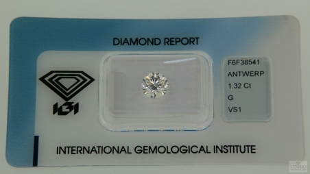 Diamante taglio Brillante G/VS1, 1.32 ct (IGI)