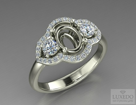 "18 kt gold ring with side diamonds and diamonds halo ""Sidera"""