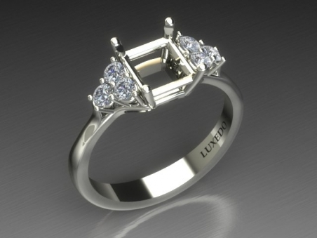 "Solitaire ring with side diamonds  in 18 kt gold ""Floral"""