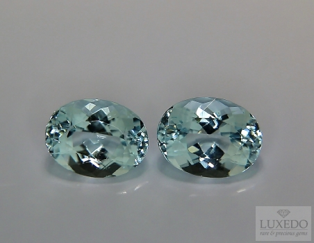 Pair of Aquamarines, oval cut, 3.80 ct tot.