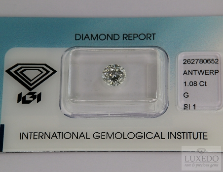 Diamond brilliant cut, G/SI1, 1.08 ct